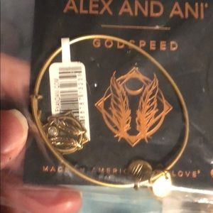 Alex and Ani Godspeed Gold Tone Bracelet New